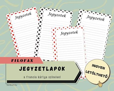Jegyzetlapok francia kártya